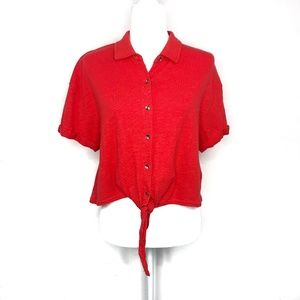 Splendid Roma Crop Tie Front Red Top